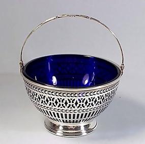Sterling Silver & Cobalt Glass Basket