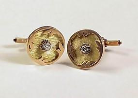14K Yellow Gold & Diamond Cufflinks