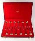 12 Art Deco Puiforcat Gilt Silver Ivory Swizzle Sticks