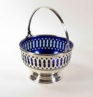 Redlich Sterling Silver & Cobalt Blue Glass Basket