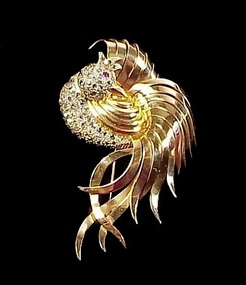 Retro French 18K Gold, Diamond & Ruby Phoenix Brooch