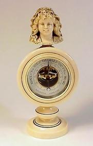 Charles X French Ivory Desktop Aneroid Barometer