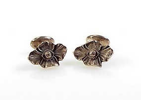 Art Nouveau Sterling Silver Dogwood Flower Cufflinks