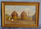 American West Indian Reservation Oil Painting