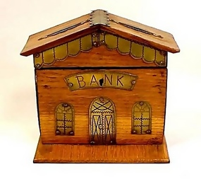 Victorian Punched Brass & Oak Figural Bank