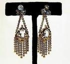 Art Nouveau 18K Gold & Aquamarine Tassel Earrings