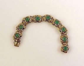 Art Deco Hungarian Gilt Silver & Chrysoprase Bracelet