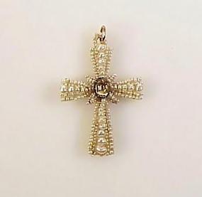 Georgian 9K Gold, Seed Pearl & Citrine Cross Pendant