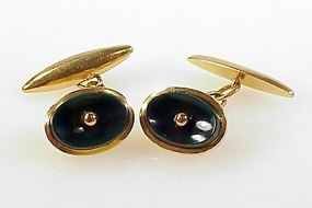 19K Yellow Gold & Bloodstone Cufflinks