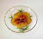Art Nouveau Reverse Painted Engraved Glass Bowl