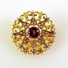 Victorian 10K Gold Amethyst & Seed Pearl Starburst Pin