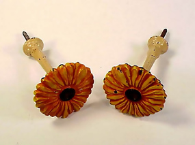Victorian Painted Cast Iron Sunflower Drapery Tiebacks