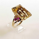 Retro 14K Gold, Citrine & Ruby Ring