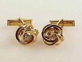 14K Yellow Gold & Diamond Loveknot Cufflinks