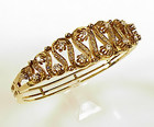 Edwardian 14K Gold & Diamond Hinged Bangle Bracelet