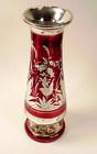 Bohemian Red Flashed Engraved Mercury Glass Vase