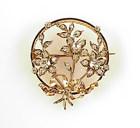 French Napoleon III 18K Gold Diamond Floral Circle Pin