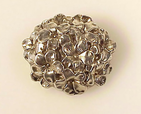 Victorian Repousse Sterling Silver Floral Watch Pin