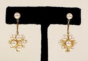 Modernist 14K Gold & Pearl Drop Earrings