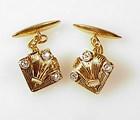 Art Deco 18K Gold, Platinum & Diamond Cufflinks