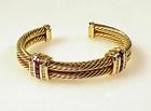 David Yurman 18K Gold, Diamond & Ruby Cuff Bracelet