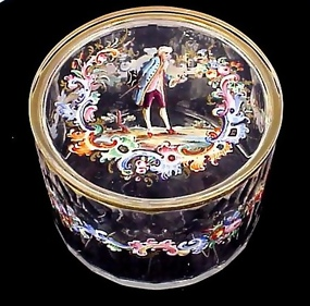 Lobmeyr Enameled Crystal Powder Jar
