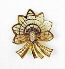 Retro 14K Yellow Gold, Sapphire & Diamond Comet Brooch