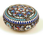 Imperial Russian Enameled 88 Silver Patch Pill Box