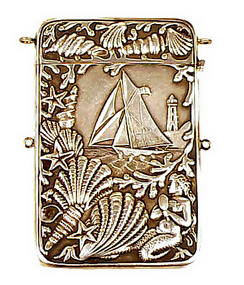 Victorian Silverplate Mermaid & Sailing Ship Card Case
