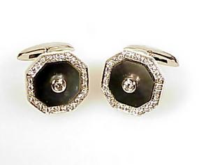 18K White Gold Black Mother of Pearl Diamond Cufflinks