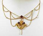 Art Nouveau 14K Enamel Amethyst Pearl Festoon Necklace