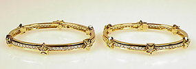 Pair Chanel 18K Gold Diamond COMETES Bangle Bracelets