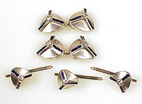 Art Deco Platinum Diamond Sapphire Cufflinks Studs Set