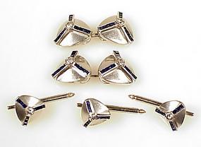 Art Deco Platinum Diamond Sapphire Cufflinks Studs Set