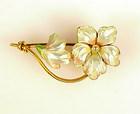 Art Nouveau 14K Gold, Enamel & Seed Pearl Floral Brooch