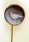Victorian 14K Gold Hardstone Cameo Pheasant Stickpin