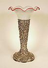 Frederick Bucher Sterling Silver Repousse Trumpet Vase