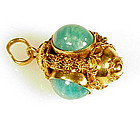 18K Gold & Amazonite Etruscan Revival Fob Charm