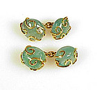 Signed Seaman Schepps 18K Gold Emerald Pebble Cufflinks