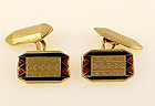 Art Deco 18K Gold & Red/Black Enamel Cufflinks