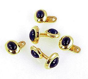 18K Gold & Cabochon Sapphire Cufflinks Studs Dress Set