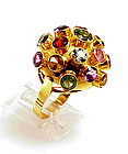 H Stern Style 18K Gold & Multi-Gem Sputnik Ring