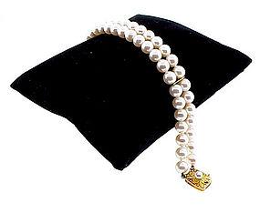 Mikimoto Double-Strand Pearl Bracelet 18K Gold Clasp