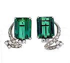 Vintage Platinum Green Tourmaline & Diamond Earrings