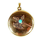 Victorian 14K Gold Diamond Scottish Halberd Locket