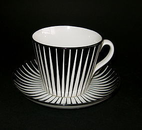 SET OF FOUR ZEBRA COFFEE CUPS AND SAUCERS