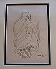Original drawing by Wilhelm K�GE of mermaid for Argenta