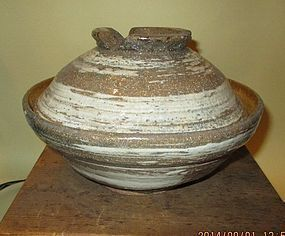 Rare Japanese  studio Hakeme coverd pot
