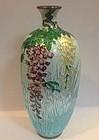 Beautiful Japanese Ginbari cloisonné  enamel vase silver wire vase
