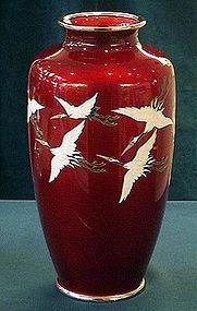 Japanese Ando Cloisonne crane vase